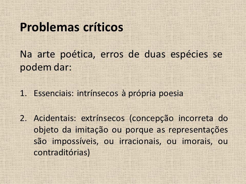 Problemas críticos Na arte poética, erros de duas espécies se podem dar: Essenciais: intrínsecos à própria poesia.