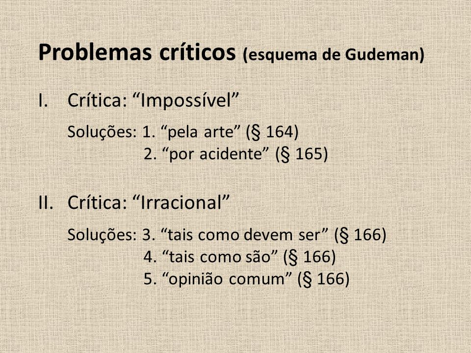 Problemas críticos (esquema de Gudeman)