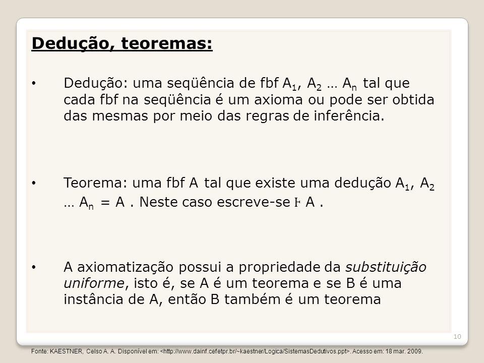 Dedução, teoremas: