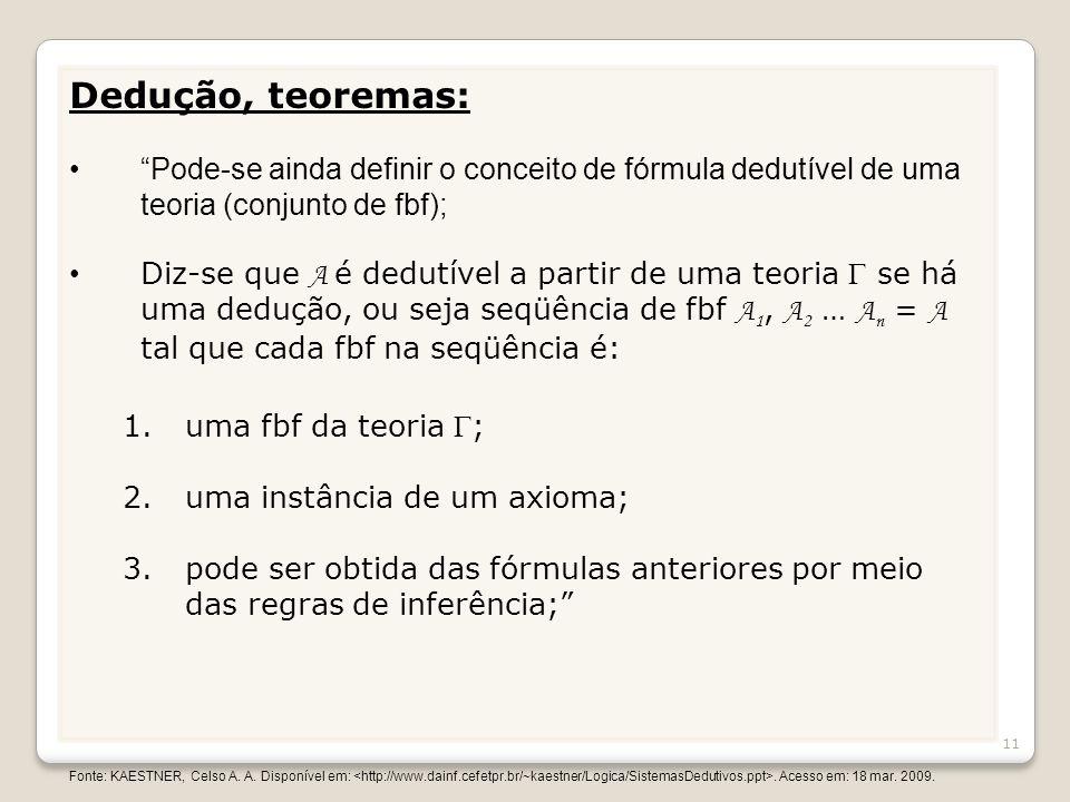 Dedução, teoremas: Pode-se ainda definir o conceito de fórmula dedutível de uma teoria (conjunto de fbf);