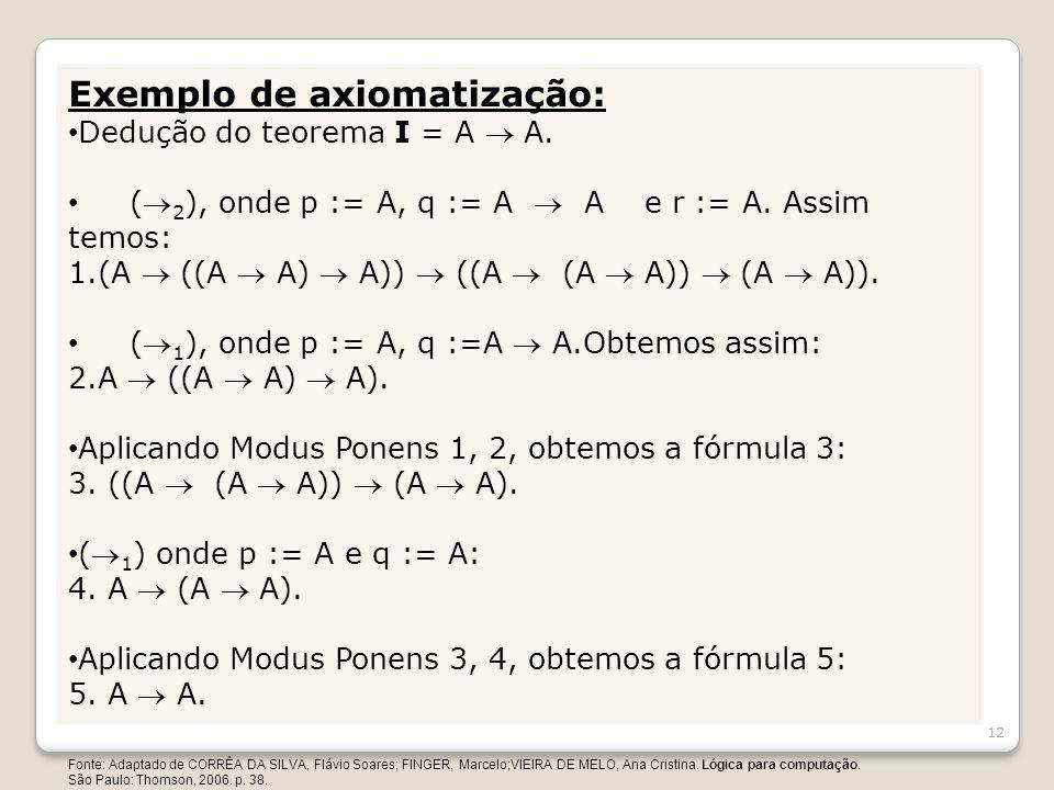Exemplo de axiomatização: