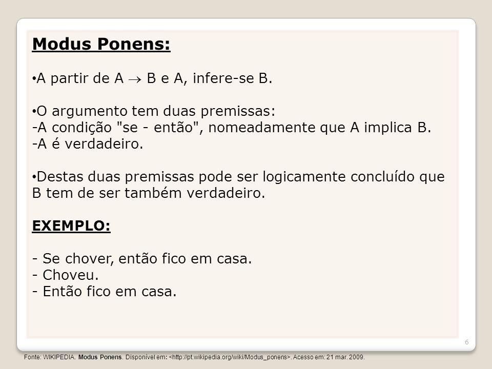 Modus Ponens: A partir de A  B e A, infere-se B.