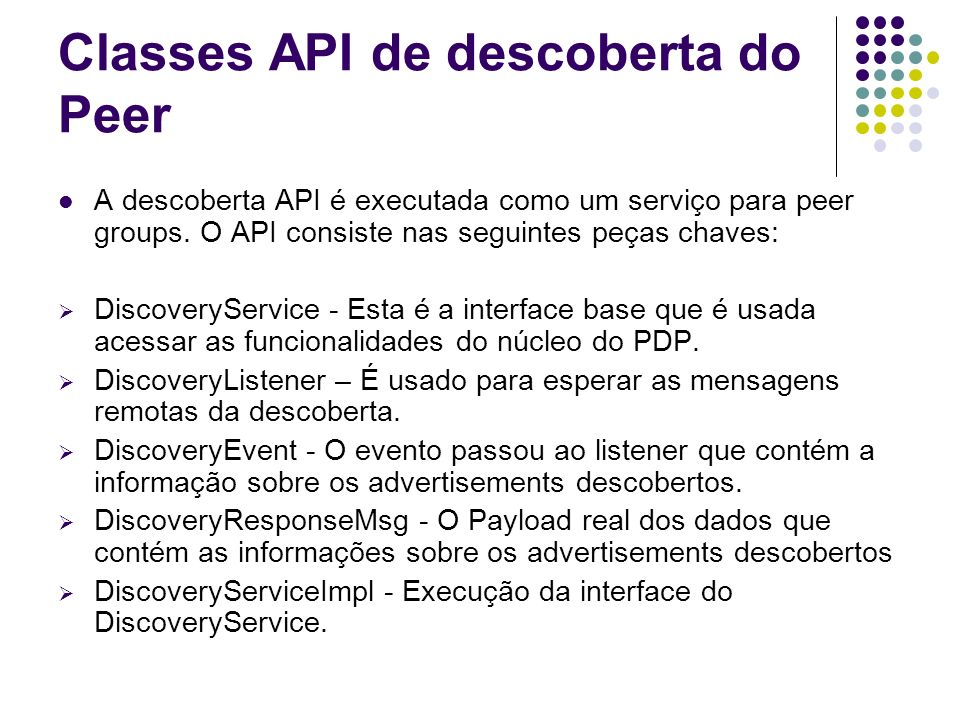 Classes API de descoberta do Peer