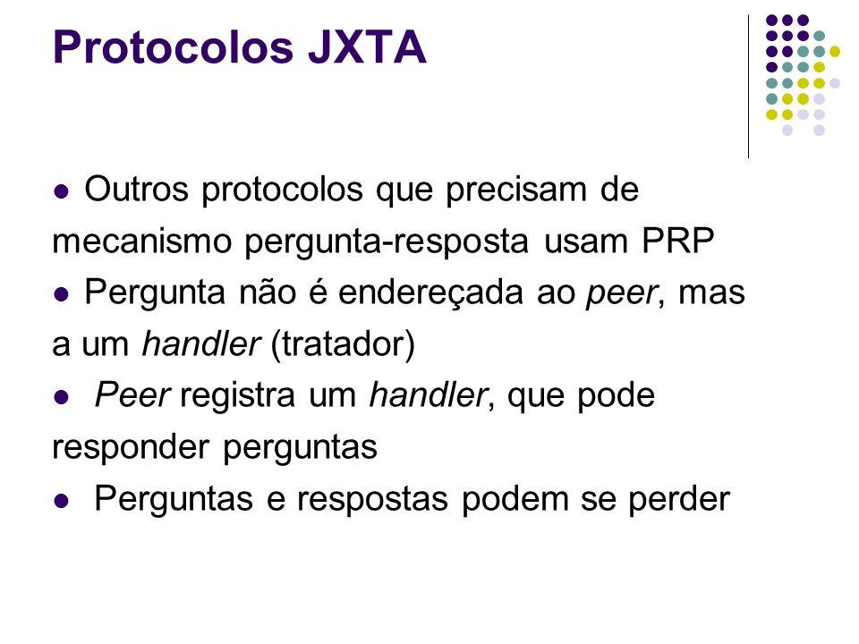 Protocolos JXTA Outros protocolos que precisam de