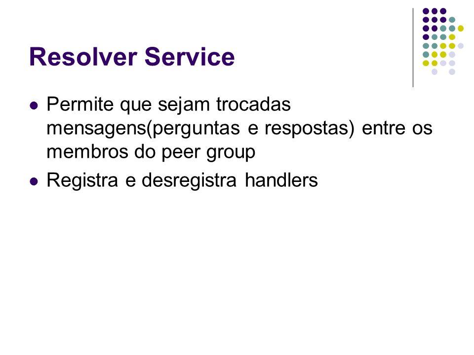 Resolver Service Permite que sejam trocadas mensagens(perguntas e respostas) entre os membros do peer group.