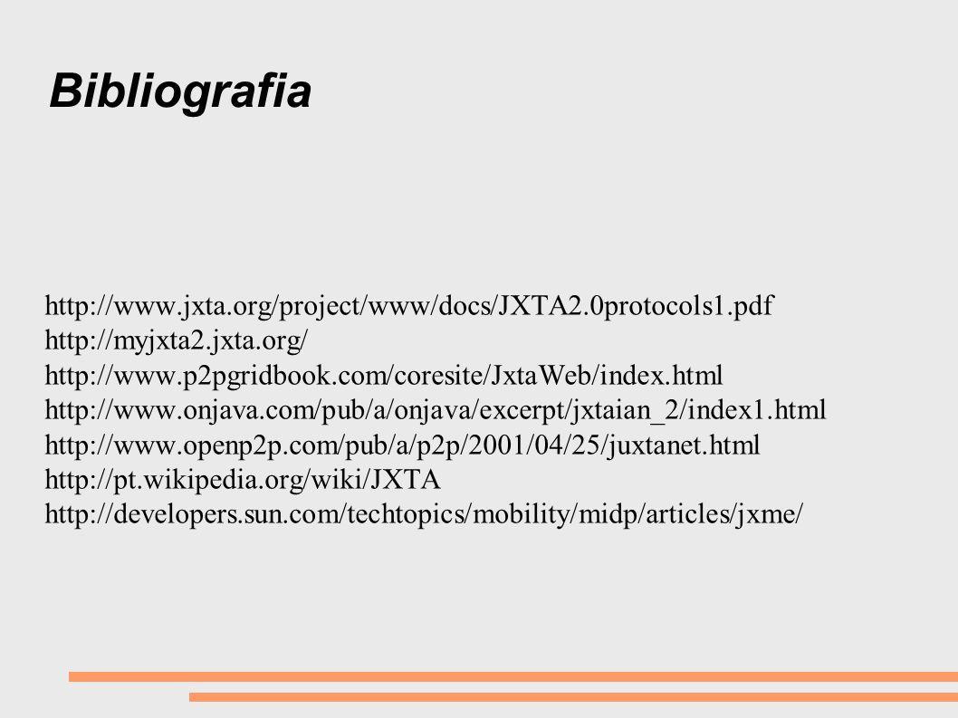 Bibliografia http://www.jxta.org/project/www/docs/JXTA2.0protocols1.pdf. http://myjxta2.jxta.org/