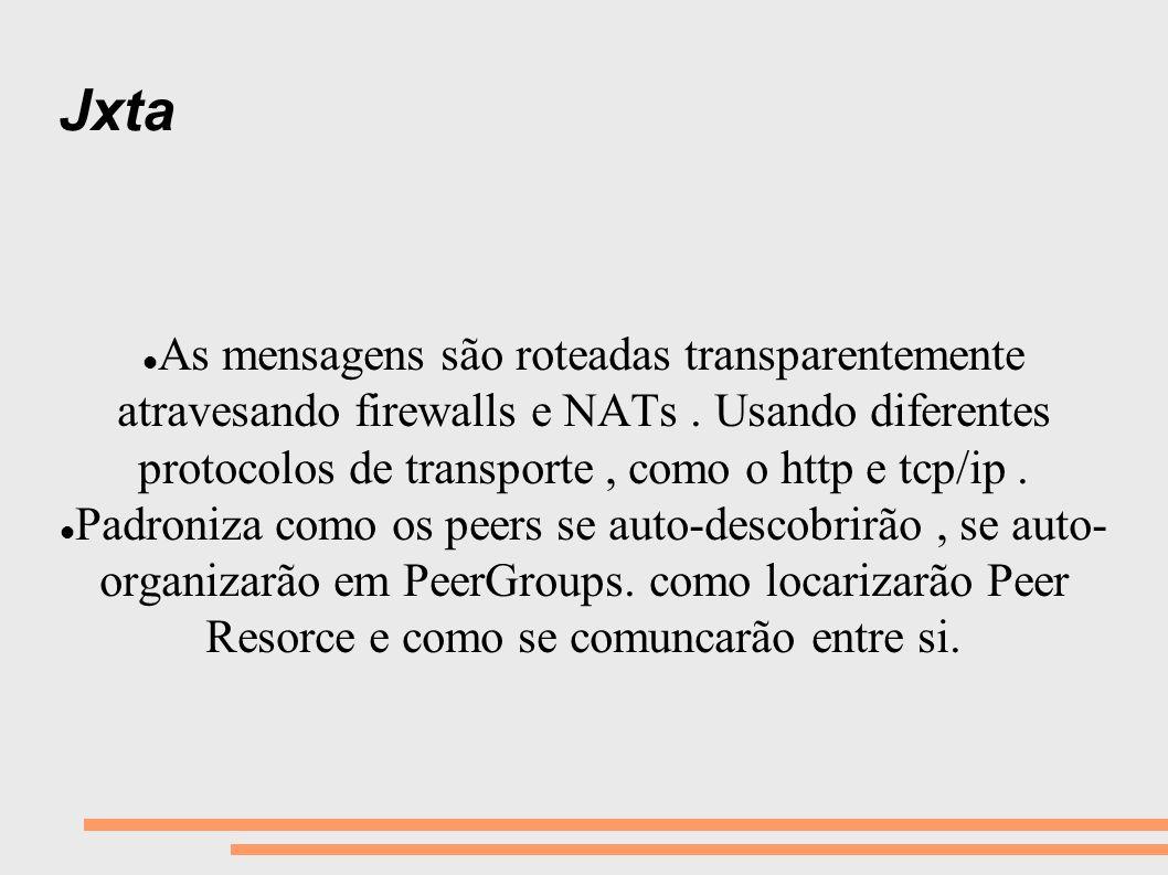Jxta As mensagens são roteadas transparentemente atravesando firewalls e NATs . Usando diferentes protocolos de transporte , como o http e tcp/ip .