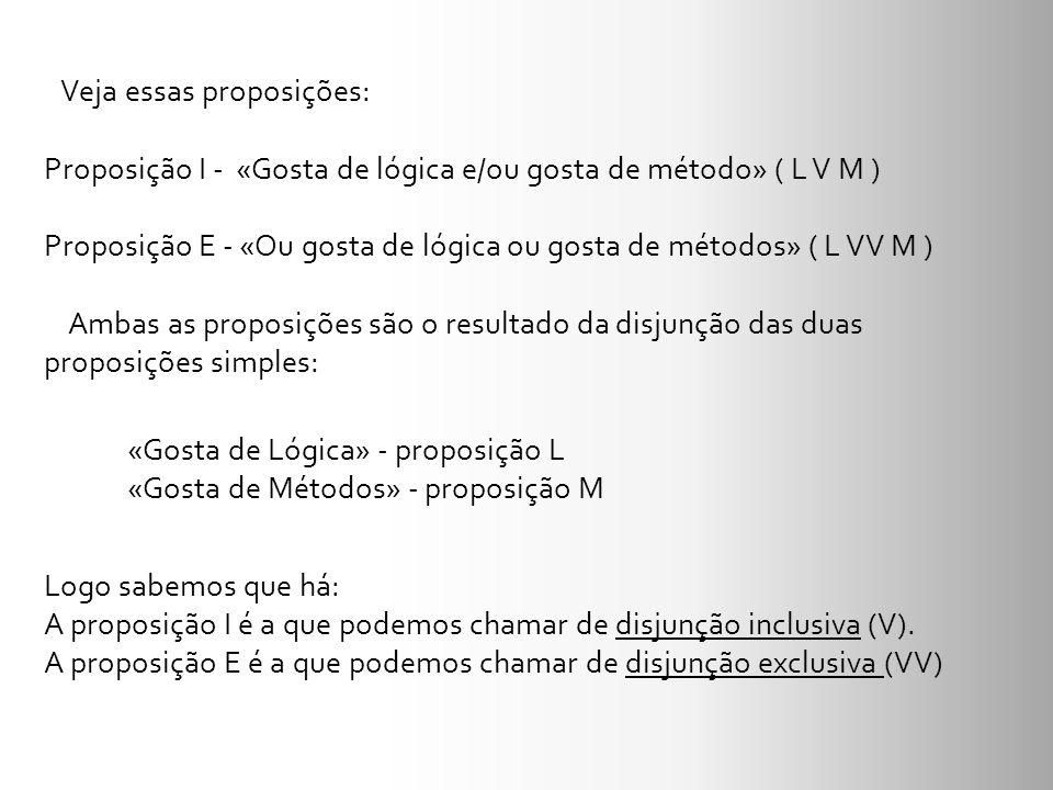 «Gosta de Lógica» - proposição L «Gosta de Métodos» - proposição M