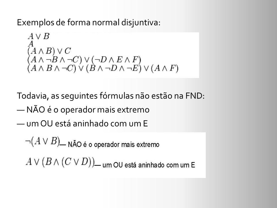 Exemplos de forma normal disjuntiva: Todavia, as seguintes fórmulas não estão na FND: — NÃO é o operador mais extremo — um OU está aninhado com um E
