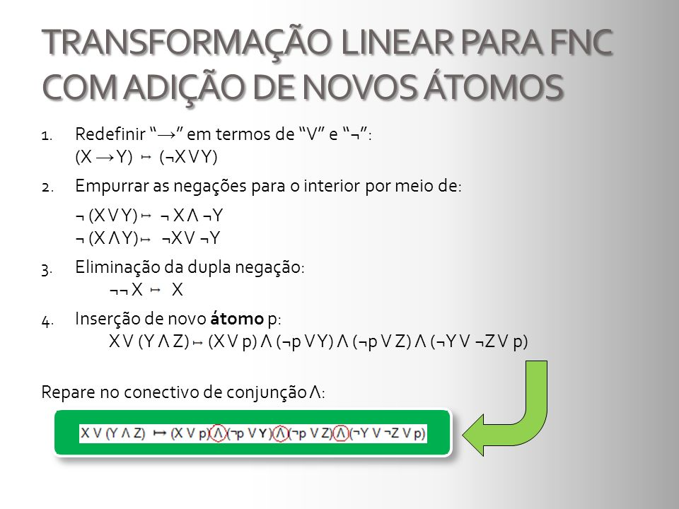 TRANSFORMAÇÃO LINEAR PARA FNC COM ADIÇÃO DE NOVOS ÁTOMOS