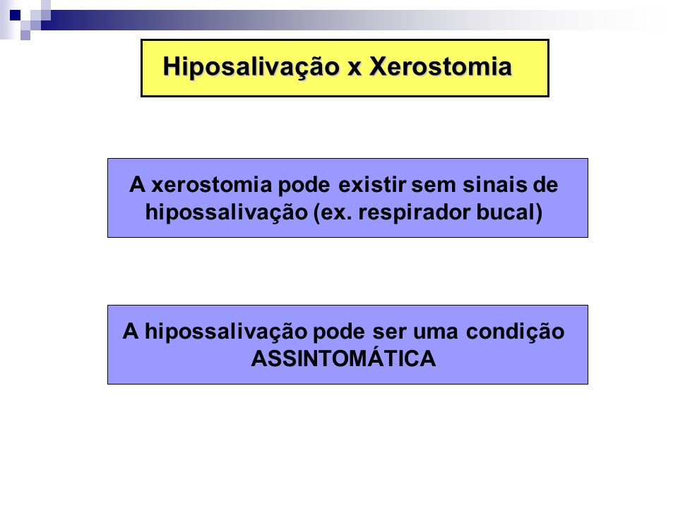 Hiposalivação x Xerostomia