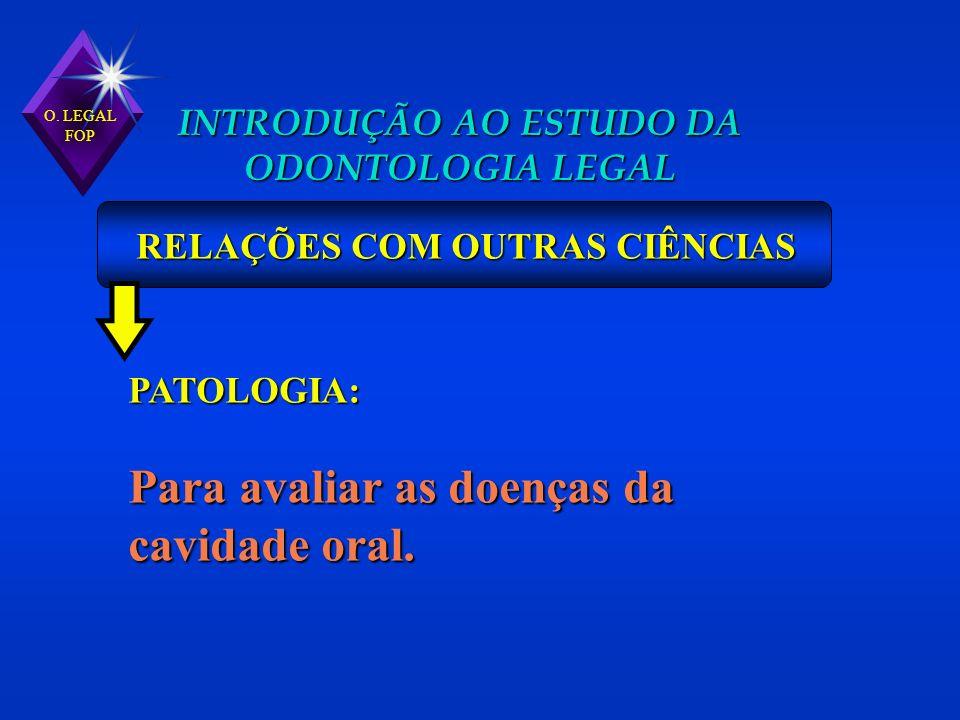 INTRODUÇÃO AO ESTUDO DA ODONTOLOGIA LEGAL