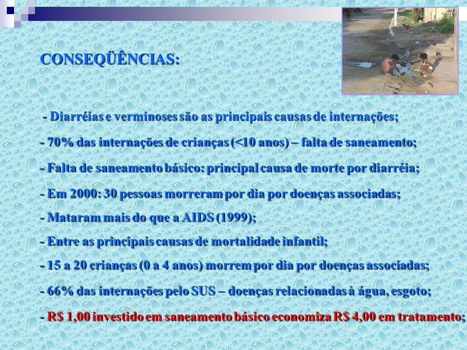 CONSEQÜÊNCIAS: - Diarréias e verminoses são as principais causas de internações; - 70% das internações de crianças (<10 anos) – falta de saneamento;