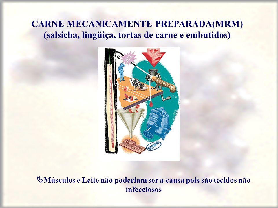 CARNE MECANICAMENTE PREPARADA(MRM) (salsicha, lingüiça, tortas de carne e embutidos)