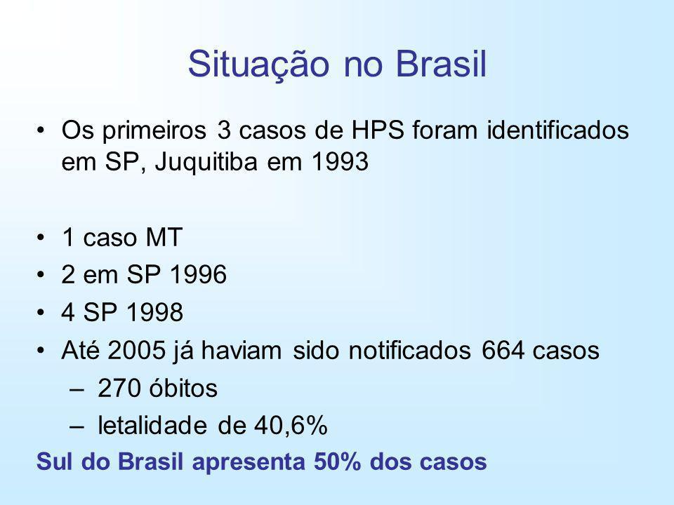 Situação no Brasil Os primeiros 3 casos de HPS foram identificados em SP, Juquitiba em 1993. 1 caso MT.