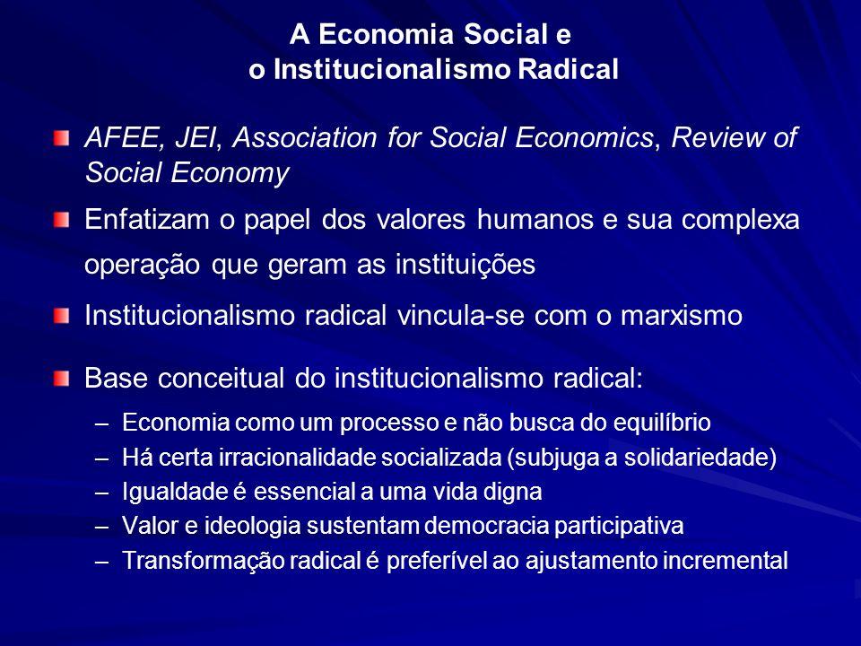 A Economia Social e o Institucionalismo Radical