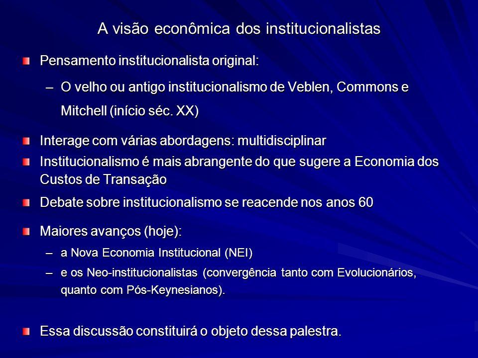 A visão econômica dos institucionalistas