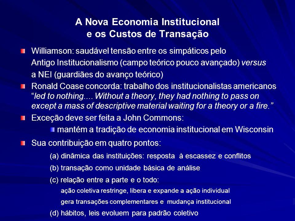 A Nova Economia Institucional e os Custos de Transação