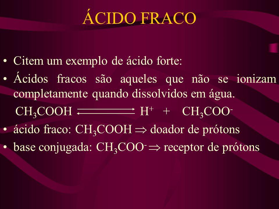 ÁCIDO FRACO Citem um exemplo de ácido forte: