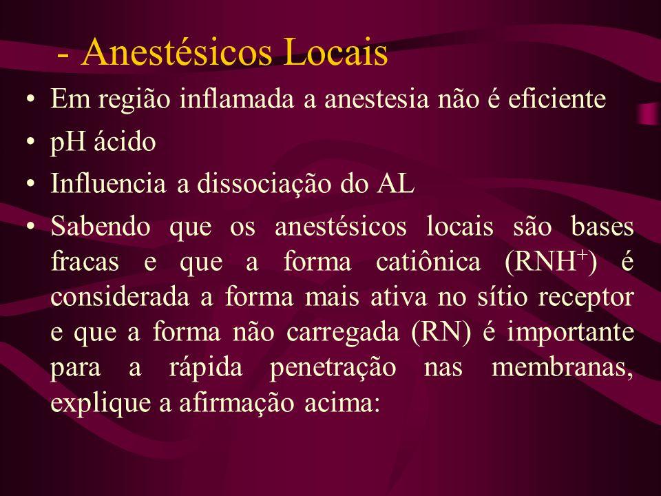 Anestésicos Locais Em região inflamada a anestesia não é eficiente