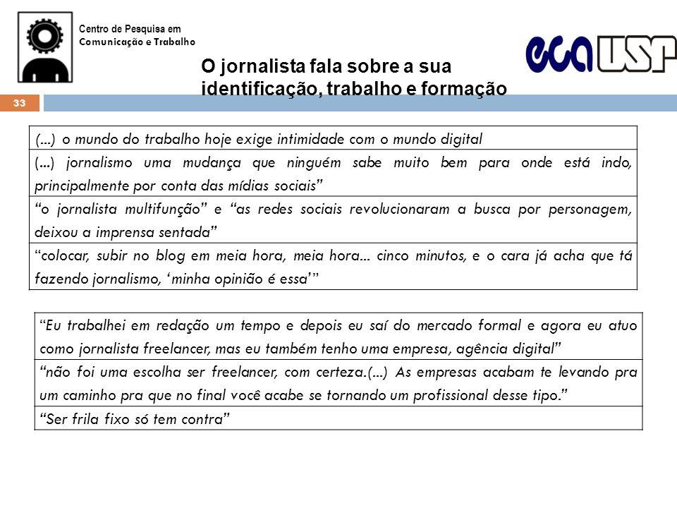 O jornalista fala sobre a sua identificação, trabalho e formação