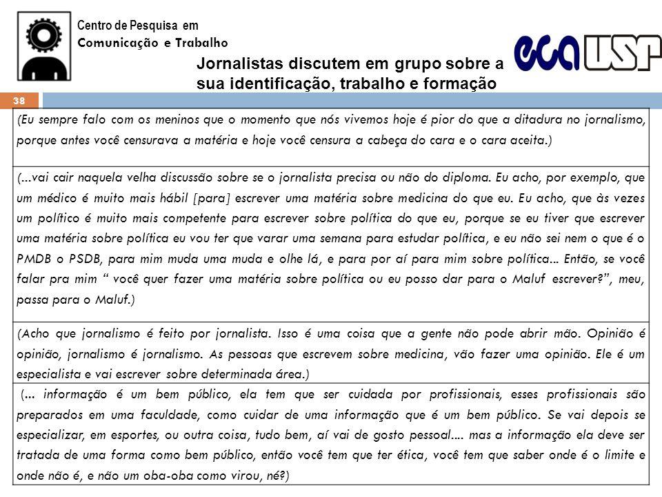 Centro de Pesquisa emComunicação e Trabalho. Jornalistas discutem em grupo sobre a sua identificação, trabalho e formação.