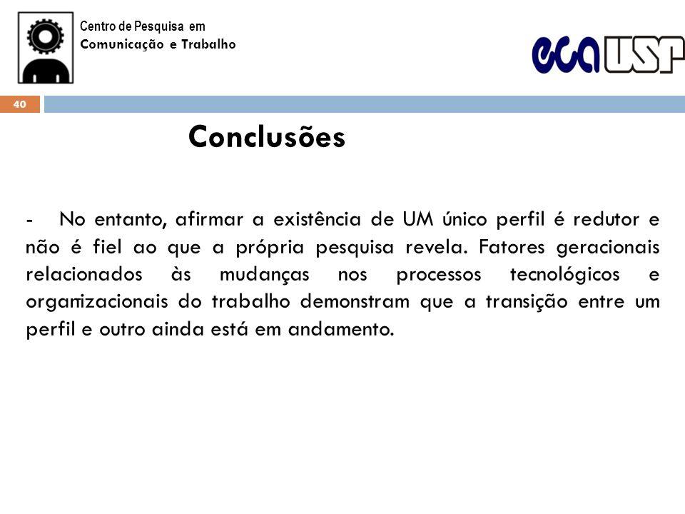 Centro de Pesquisa em Comunicação e Trabalho. Conclusões.