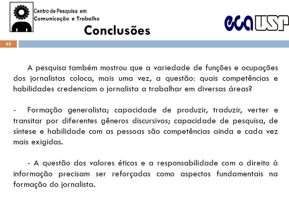 Centro de Pesquisa emComunicação e Trabalho. Conclusões.