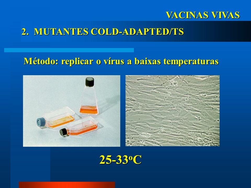 25-33oC VACINAS VIVAS 2. MUTANTES COLD-ADAPTED/TS