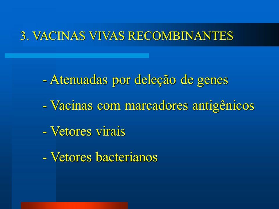- Vacinas com marcadores antigênicos - Vetores virais