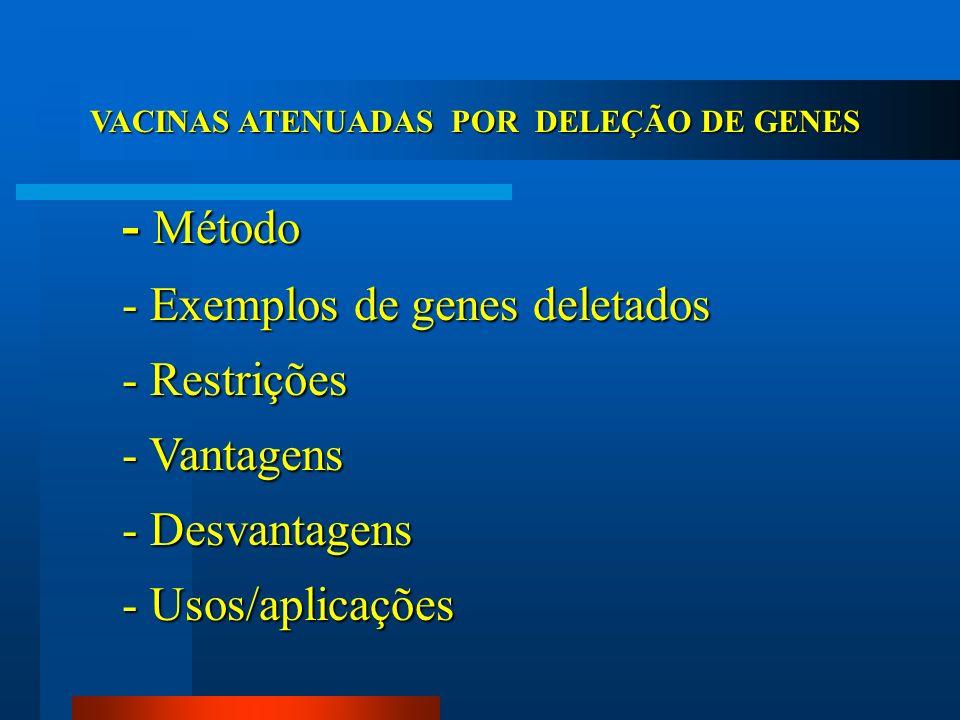 - Método - Exemplos de genes deletados - Restrições - Vantagens