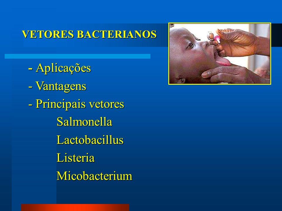 - Aplicações - Vantagens - Principais vetores Salmonella Lactobacillus