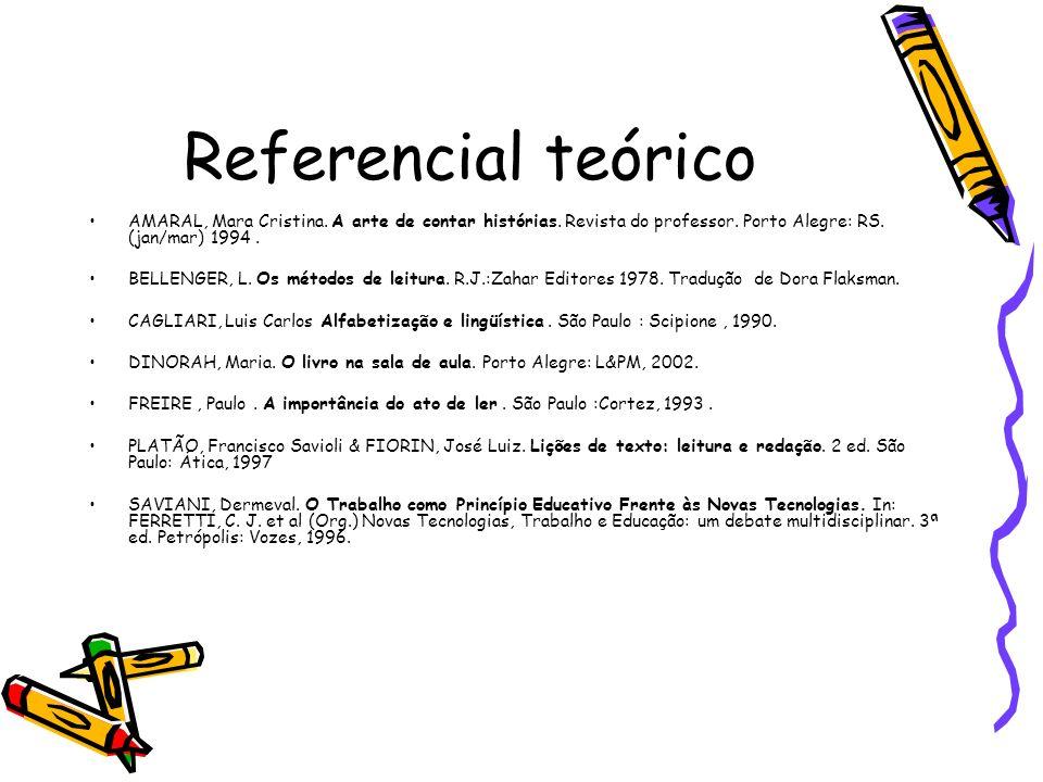 Referencial teórico AMARAL, Mara Cristina. A arte de contar histórias. Revista do professor. Porto Alegre: RS. (jan/mar) 1994 .