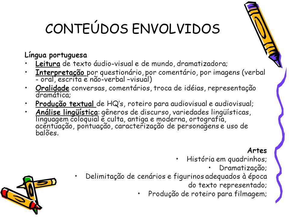 CONTEÚDOS ENVOLVIDOS Língua portuguesa