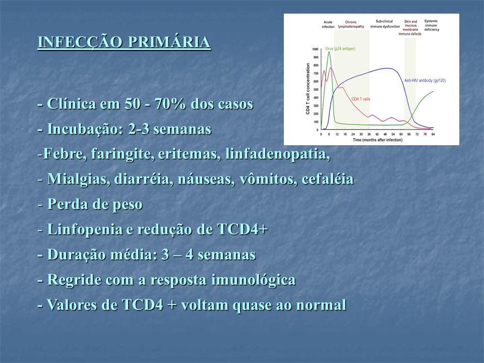 INFECÇÃO PRIMÁRIA - Clínica em 50 - 70% dos casos. - Incubação: 2-3 semanas. Febre, faringite, eritemas, linfadenopatia,