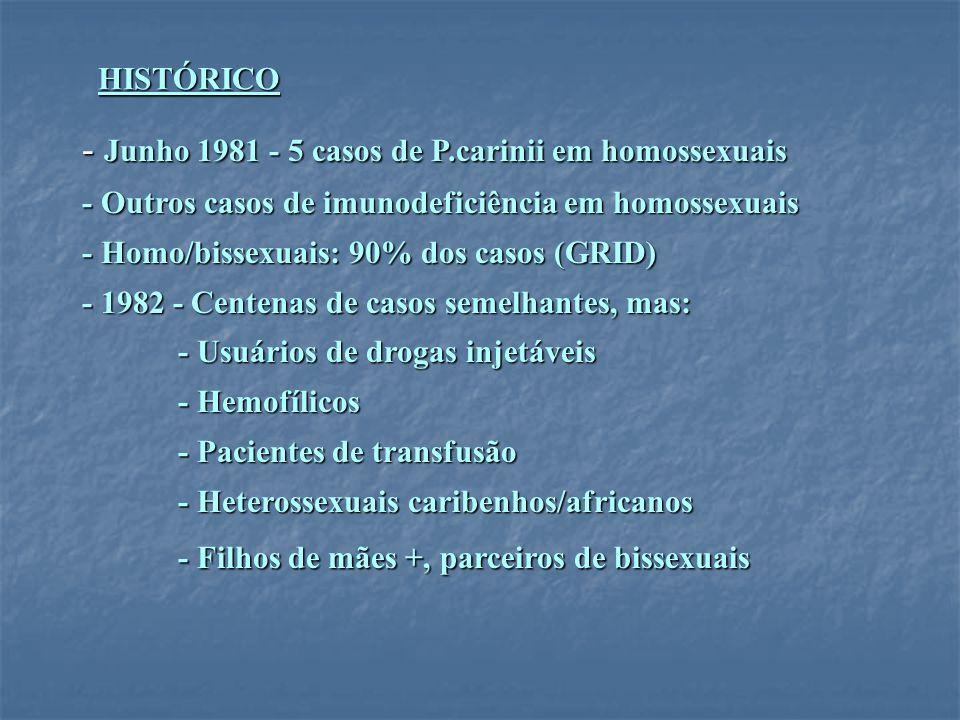 - Junho 1981 - 5 casos de P.carinii em homossexuais