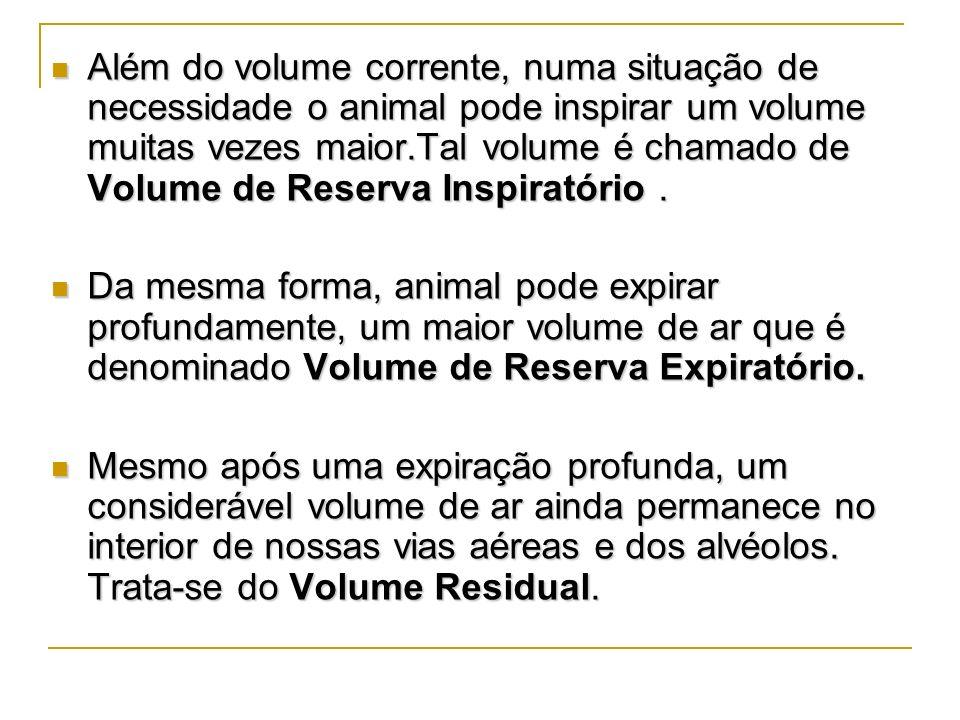 Além do volume corrente, numa situação de necessidade o animal pode inspirar um volume muitas vezes maior.Tal volume é chamado de Volume de Reserva Inspiratório .