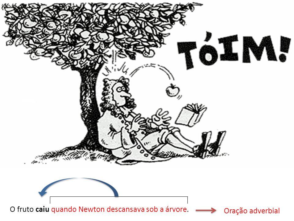 O fruto caiu quando Newton descansava sob a árvore.