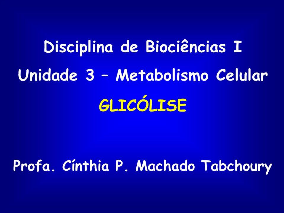 Disciplina de Biociências I Unidade 3 – Metabolismo Celular GLICÓLISE