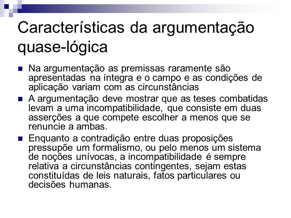 Características da argumentação quase-lógica