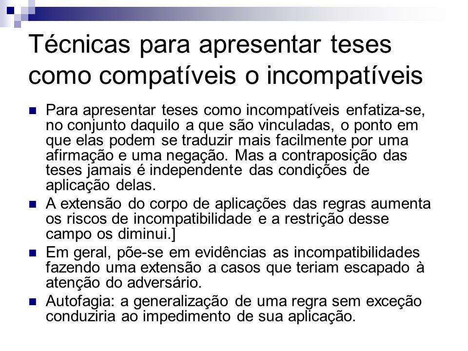Técnicas para apresentar teses como compatíveis o incompatíveis