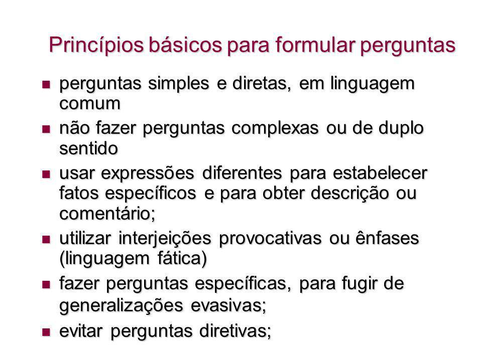 Princípios básicos para formular perguntas