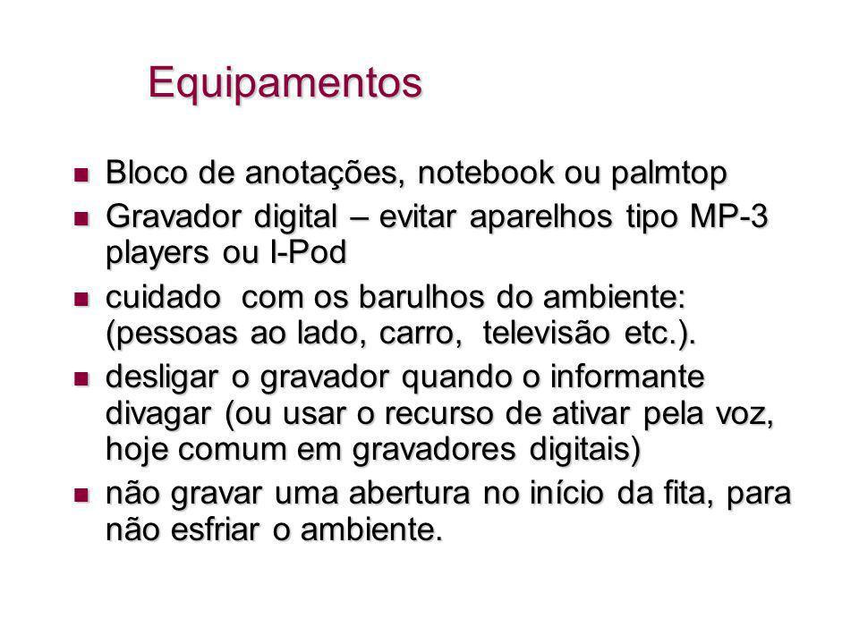 Equipamentos Bloco de anotações, notebook ou palmtop