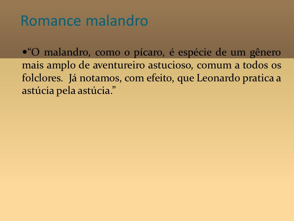 Romance malandro