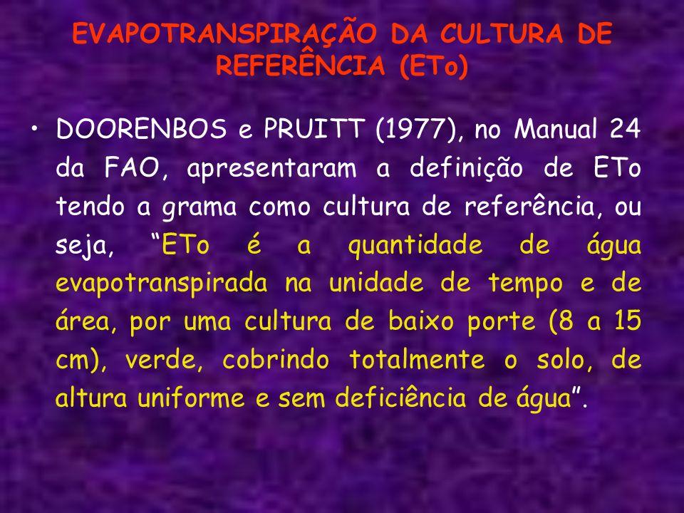EVAPOTRANSPIRAÇÃO DA CULTURA DE REFERÊNCIA (ETo)