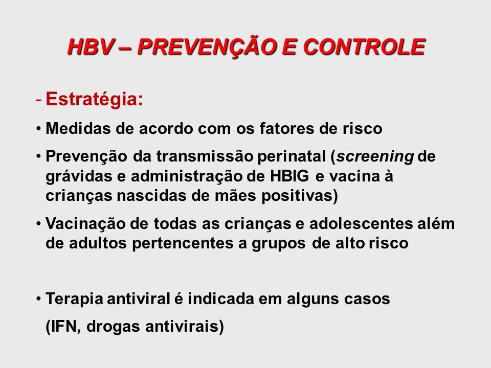 HBV – PREVENÇÃO E CONTROLE