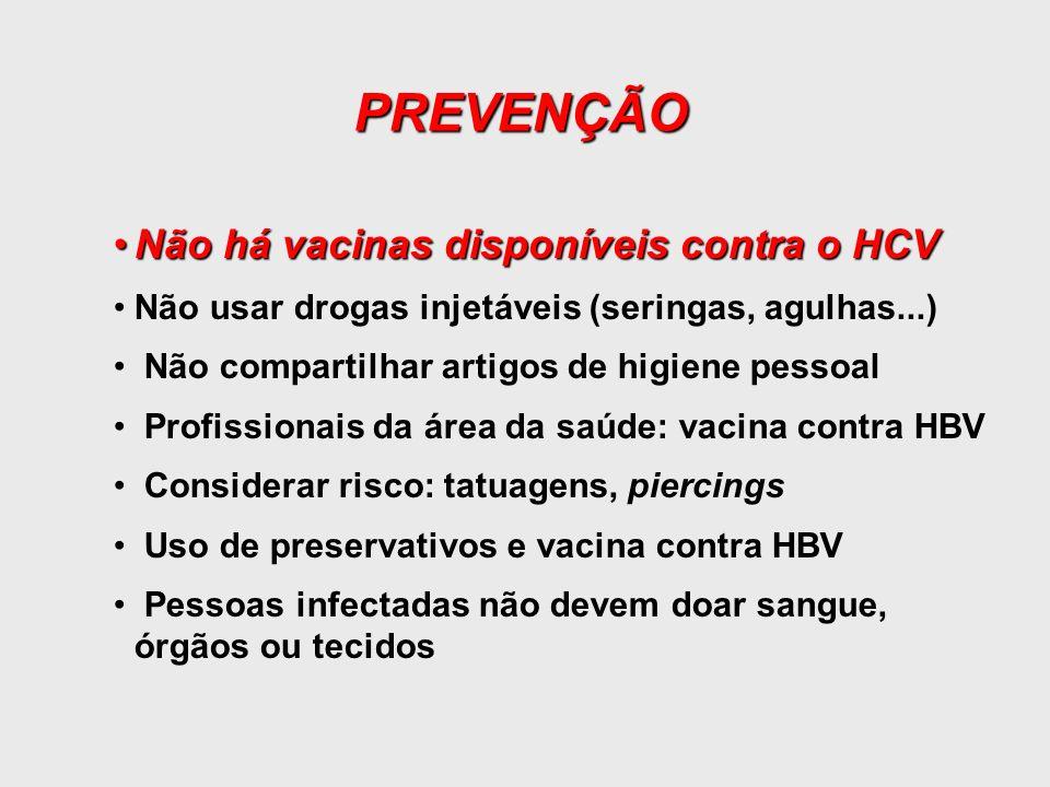 PREVENÇÃO Não há vacinas disponíveis contra o HCV
