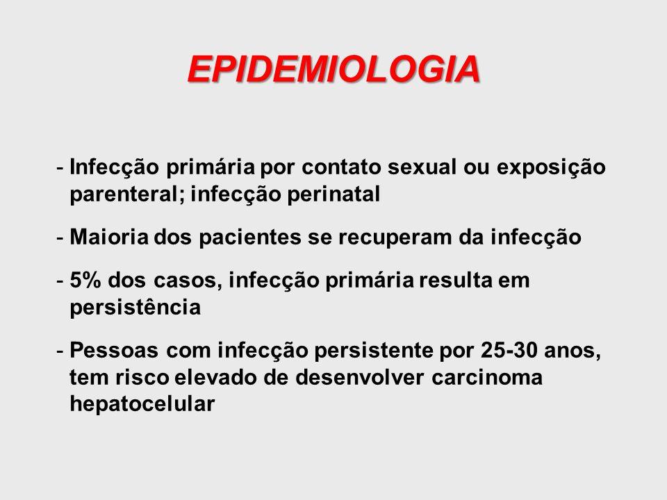 EPIDEMIOLOGIA Infecção primária por contato sexual ou exposição parenteral; infecção perinatal. Maioria dos pacientes se recuperam da infecção.