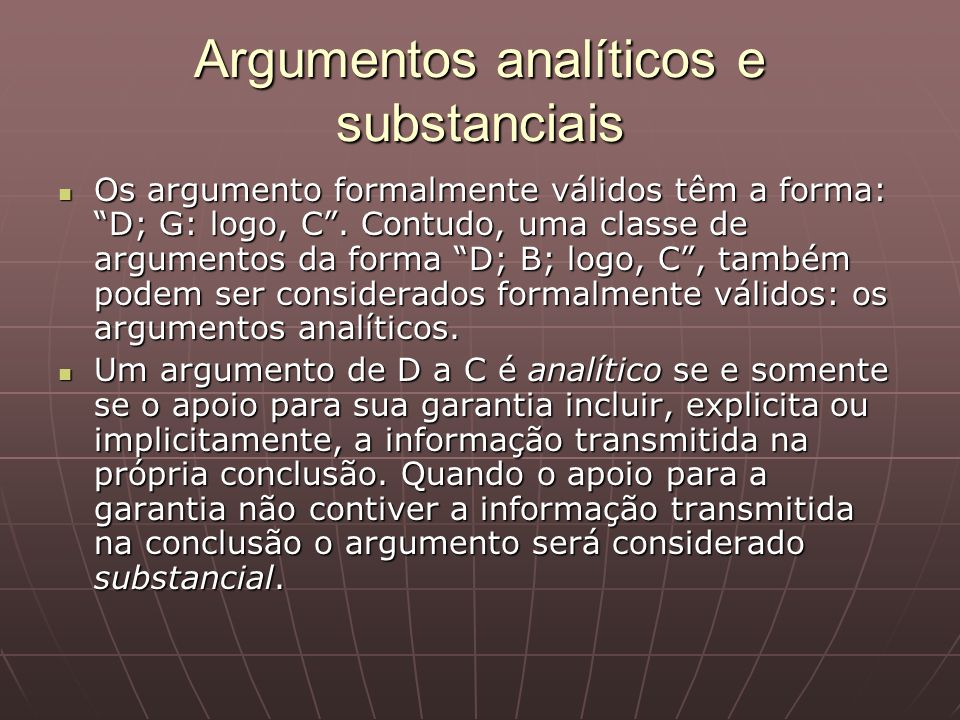 Argumentos analíticos e substanciais