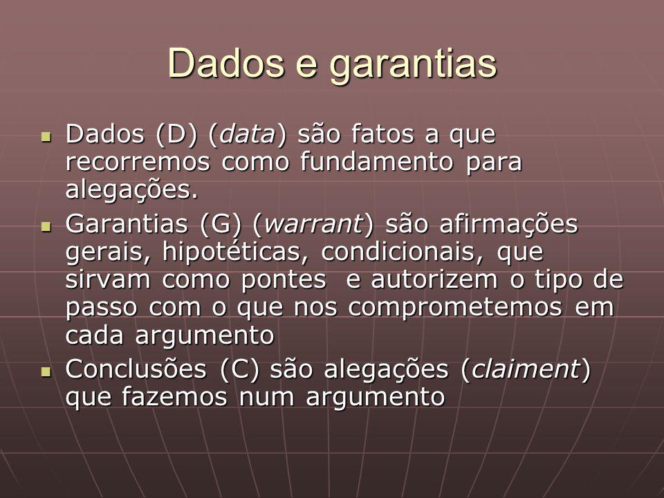 Dados e garantiasDados (D) (data) são fatos a que recorremos como fundamento para alegações.